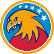 American Bald Eagle Head Stars Circle Retro - stock illustration