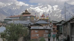 People walking to village,Kalpa,Kinnaur,India Stock Footage