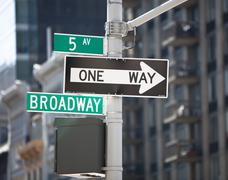 Broadway signpost, New York City Stock Photos