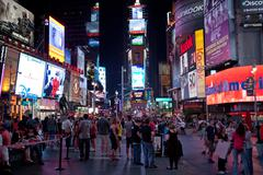 Times Square at night NYC - stock photo