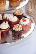 colorful wedding cupcakes tier - stock photo