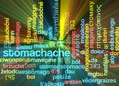 Stomachache multilanguage wordcloud background concept glowing - stock illustration