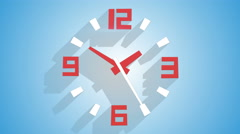 Modern wall clock with long shadows animation 4k (4096x2304) Stock Footage