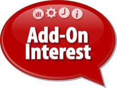 Add-On Interest Business term speech bubble illustration - stock illustration