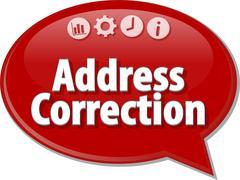 Address Correction Business term speech bubble illustration Stock Illustration