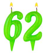 Birthday candles number sixty two Stock Photos
