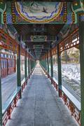 Chinese style corridor - stock photo