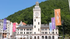 Rosa Khutor, Clock Tower, Sochi, Russia. 1280x720 Stock Footage