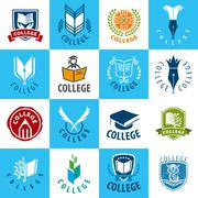 large set of vector logos College - stock illustration