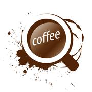 vector logo and a cup of coffee splashes - stock illustration