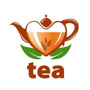 vector logo teapot in the shape of a heart and leaves - stock illustration