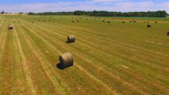 Many Round Bails of Hay in Vast Farm Field Stock Footage