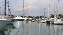 Boats at Antibes Port, France Stock Footage