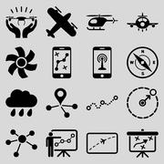 Aircraft navigation icon set Stock Illustration