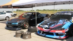 Drift Cars In Garage Area Stock Footage