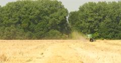 Modern Combine Harvesting Grain In The Field 4k Stock Footage