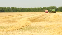 Modern Combine Harvesting Grain In The Field Stock Footage