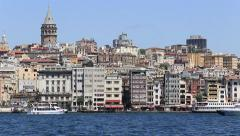 Beyoglu district historical architecture and Galata tower in Istanbul, Turkey - stock footage