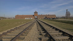 Railways at the main entrance to Auschwitz Stock Footage