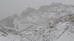 Snowing in summer,Dhankar,Spiti,India Stock Footage