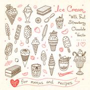 Set drawings of ice cream for design menus, recipes and packages product - stock illustration