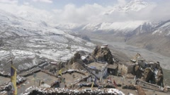 Village and valley seen from above,Dhankar,Spiti,India Stock Footage