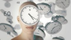Girl with flying around the clock and digits. Stock Footage
