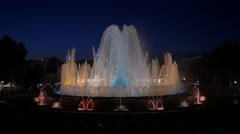 Water show at the Magic Fountain at night, Barcelona Stock Footage