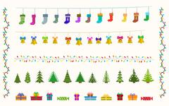Garland set of pixel art for christmas and new year Stock Illustration