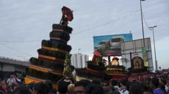 Hindu Worshipers Carrying Kavadi Approach Temple Stock Footage