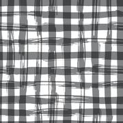 Vector seamless pattern with square hand drawn texture. Black checkered Stock Illustration