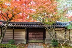 Japanese style garden in autumn (Koyo) - stock photo