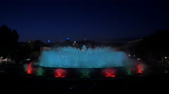 Night water show with colorful lights at the Magic Fountain, Barcelona Stock Footage