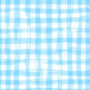 Vector seamless pattern with square hand drawn texture. Blue checkered - stock illustration