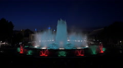 Night water show at the Magic Fountain of Montjuic, Barcelona Stock Footage