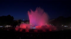 Beautiful colorful water show at the Magic Fountain, Barcelona Stock Footage