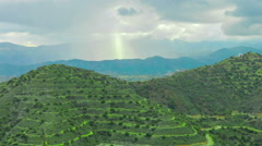 Beautiful mountain landscape. Sun rays shining on hills. God's blessing on earth Stock Footage