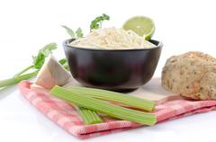 Bowl of tasty grated celery Stock Photos