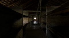 Inside the barracks of Auschwitz extermination camp Stock Footage
