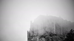 Black and white thriller movie. Ancient stone building full of terrible ghosts - stock footage