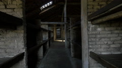 Inside the barracks of Auschwitz-Birkenau extermination camp Stock Footage