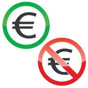 Euro permission signs set Stock Illustration