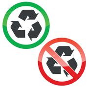 Stock Illustration of Recycle permission signs set