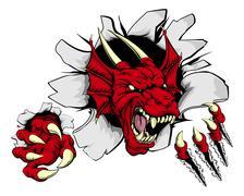 Red dragon claw breakthrough Stock Illustration