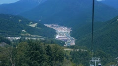 Stock Video Footage of View Rosa Khutor from the cableway, Sochi, Russia. 1280x720