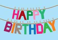 Birthday message on the clothesline - stock illustration