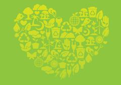 Ecology icons to form into a heart shape - stock illustration