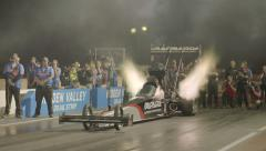 Top Fuel Dragster Take Off Wide Shot Slow Motion Stock Footage