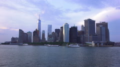 Lower Manhattan Skyline And Ferry Boats New York City Stock Footage