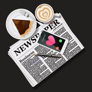 Newspaper and mobile phone with latte art and pie Stock Illustration